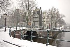 Nevado en Amsterdam los Países Bajos Fotografía de archivo libre de regalías