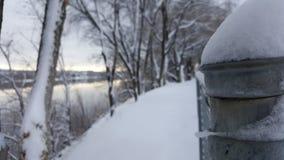 Nevado en cerca del metal Foto de archivo libre de regalías