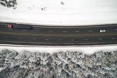 Nevado Forest Highway Transportation Top Angle Imagen de archivo