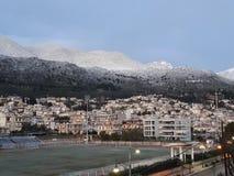 Neve in Amfissa fotografia stock