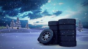 Neve animado com rodas ilustração royalty free