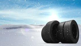 Neve animado com rodas ilustração stock