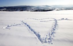 Neve bianca con figura del cuore Immagine Stock Libera da Diritti
