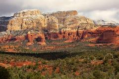 Neve bianca rossa Sedona Arizona del canyon della roccia di Boynton Immagini Stock