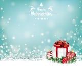 A neve Bokeh das quinquilharias do presente do Natal Stars Frohe Weihnachten Foto de Stock