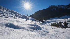 Neve caduta fresca nelle alpi bavaresi, area di spitzingsee Immagini Stock