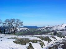 Neve calva della strada delle colline fotografie stock libere da diritti