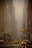 Neve che cade a New York Fotografia Stock