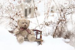 Neve che cade su un orsacchiotto che si siede su un banco Immagini Stock