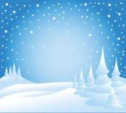 Neve che cade sugli alberi Fotografia Stock