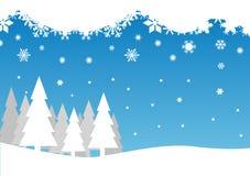 Neve che cade sugli alberi illustrazione di stock