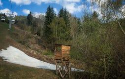 Neve che scompare nelle alpi austriache Immagini Stock Libere da Diritti