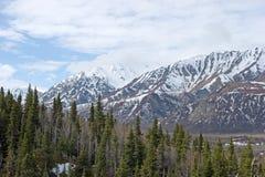 Neve che si fonde sull'intervallo di Alaska Fotografia Stock