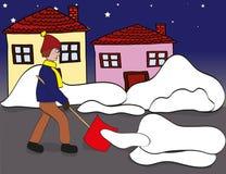 Neve che spala di mattina Fotografia Stock