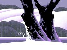 A neve cobriu a árvore ilustração royalty free
