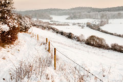 A neve cobriu campos no crepúsculo Fotos de Stock