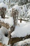 A neve cobriu a cerca de madeira Fotos de Stock
