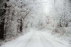 A neve cobriu a estrada Fotografia de Stock Royalty Free