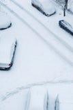 A neve cobriu estradas Foto de Stock