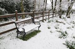 A neve cobriu o banco de parque. Imagens de Stock Royalty Free