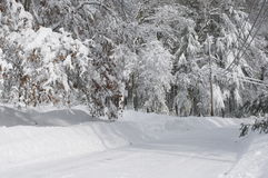 A neve cobriu ruas Foto de Stock