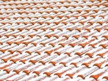A neve cobriu telhas de telhado Imagem de Stock Royalty Free
