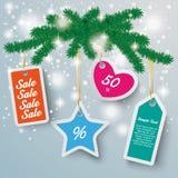 A neve colorida das etiquetas do preço ilumina o ramo do abeto Imagens de Stock Royalty Free