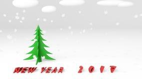 Neve 3d dell'albero di Natale Fotografie Stock Libere da Diritti