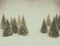 Neve da cena do inverno e pinheiros verdes ilustração do vetor
