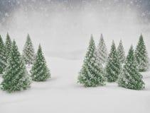 Neve da cena do inverno e pinheiros verdes ilustração stock