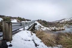 Neve da estrada do deserto, Mt Ruapehu, Nova Zelândia Fotos de Stock Royalty Free