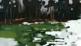 Neve da floresta na luz do dia com pintura do curso da escova da ilustração da grama Fotografia de Stock
