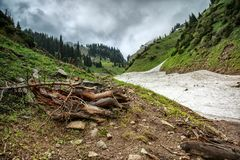 Neve das avalanchas no desfiladeiro foto de stock royalty free
