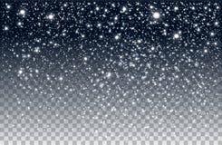 Neve de queda do inverno no fundo transparente ilustração royalty free