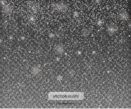Neve de queda em um fundo transparente Ilustração 10 eps do vetor Fundo abstrato do floco de neve Fotografia de Stock Royalty Free