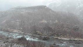 Neve de queda em um vale vídeos de arquivo