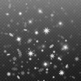 Neve de queda no fundo transparente, projeto do vetor do fundo Tema do inverno Fotos de Stock Royalty Free