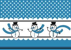 Neve dei puntini di Polka e scheda di inverno dei pupazzi di neve Fotografie Stock