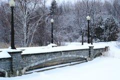Neve del fondo del ponte sull'inverno Fotografia Stock