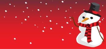 Neve del pupazzo di neve e fondo rosso Immagini Stock Libere da Diritti