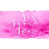Neve del sole di rosa dell'acquerello di calligrafia Fotografia Stock