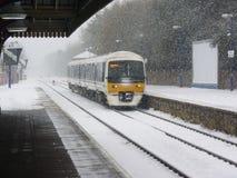Neve del treno Fotografie Stock Libere da Diritti
