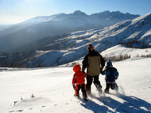 neve della famiglia Fotografia Stock Libera da Diritti