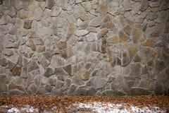 Neve della strada della parete di pietra nessuno fondo fotografia stock libera da diritti