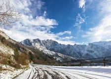 Neve delle alpi di Apuan Fotografie Stock