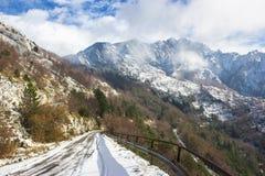 Neve delle alpi di Apuan Fotografia Stock