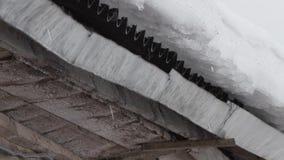 A neve derrete e a água deixa cair o gotejamento do telhado velho da casa video estoque