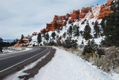 Neve di Bryce Canyon Road Fotografie Stock