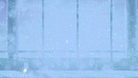 Neve di caduta con i cerchi di Natale della luce del bokeh in ufficio archivi video