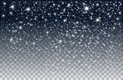 Neve di caduta di inverno su fondo trasparente fotografia stock libera da diritti
